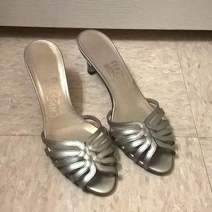 Salvatore Ferragamo Silver Slip-On Mule Heels 5